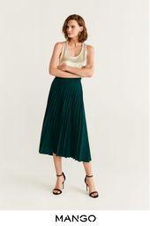 MANGO – femme – Jupe midi plissée vert foncé MANGO – Vert foncé – XL   – Products