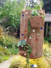 Hanging planter – Air plant holder – Succulent -Reclaimed wood with colorful marbles -Rustic -Vertic