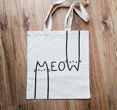 MEOW TOTE BAG, Katze Tasche, Katzenliebhaber, Katze Geschenke, Katze Dame, personalisierte Tasche, von Hand bemalt, Einkaufstasche, wiederverwendbare Tasche, Geschenk für Sie
