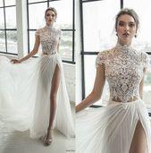 Julie Vino Spetsar Bröllopsklänningar Höghalsskydd med ärm Slit Abiti Beach Bridal …