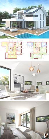 Modernes Designhaus mit Satteldacharchitektur, Galerie und Büroerweiterung – Einfamilienhaus …   – Tutorials + Inspiration