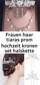 Women hair tiaras prom wedding crowns set necklace earrings 2018 luxury beads crown – 1