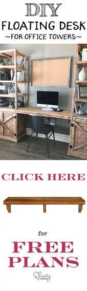 DIY schwimmende Schreibtisch- und Bürotürme! Baue es selbst mit dem kostenlosen Pri – #Bau …
