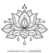 Mehndi Lotus flower pattern for Henna drawing and …