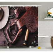 East Urban Home Western Clothes and Accessories for Horse Riding with Kitsch Details Rural Sports Themed Shower Curtain Set Size: 84″ H x 69″ W  – Products