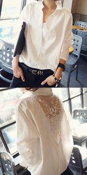 Fashion Long Sleeve Lace Splicing Loose Shirt