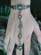 Swarovski slave bracelet turquoise hand chain hand flower mothers day bohemian renaissance victorian moon goddess pagan boho gypsy style