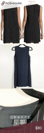 Theory Adraya Black White Pinstripe Shift Dress 2 Theory Size 2 Womens Adraya Bl… – My Posh Picks
