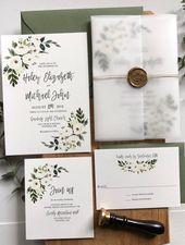 Vellum Wedding Invitations Floral, White Flower Wedding Invitations mit Vellum Wrap, Wasserfarbe Grün Hochland-Einladung Suite gedruckt
