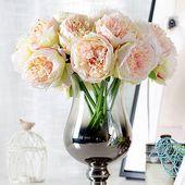 Gefälschte Blume 5 Köpfe Pfingstrose Kunstseidenblumen kleinen Blumenstrauß Hausteil …   – Artificial flowers
