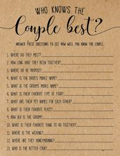 Who Knows the Couple Best? Bridal Shower Game   – Wedding and Bridal Ideas