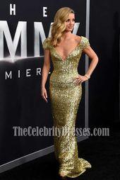 Annabelle Wallis Gold Sequins Cap Sleeves Deep V-neck Column Gown The Mummy New …