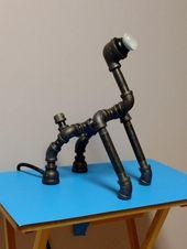 Industrierohrlampe, Schreibtischlampe, Tischlampe, Roboterlampe, PipePooch 01