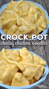 These Crock Pot Cheesy Chicken Noodles are easy, cheesy and oh so divine! (I kno…