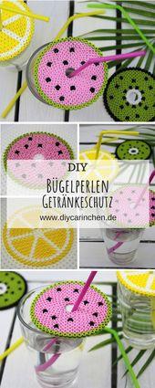 Sommerliches DIY: fabriquez vous-même un couvercle de protection pour boisson composé de perles à repasser et composé de 3 motifs estivaux – super protection contre les guêpes