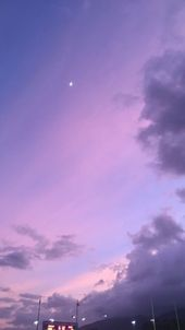 night sky / twilight / half moon / lavender sunsets / lavender aesthetic / laven…