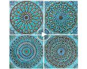 Marokkanisches Dekor, Set mit 4 marokkanischen Kacheln, marokkanische …   – Badkamer Ideeën