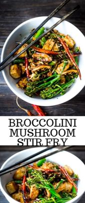 Broccolini Mushroom Stir Fry  This someone and speeding Broccolini Mushroom Shif…