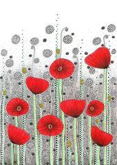 Original Drawing – Poppy Field – 8.5×12″ up to 24×34″ Art Print, Wall Decor, Illustration