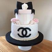 Chanel gesteppte Geburtstagstorte mit Fondantrosen und Geschenkbox mit Schleife. – #Geburtstag #Bogen #Box …   – Cake Decorating Dıy Ideen