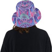 Bucket hat- women's hat-formal hat- hand painted original design- premium cotton- handmade to order- paons-peacocs – original hat
