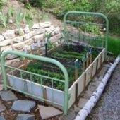 """Make a Garden """"Bed"""" Out of an Old Bed Frame"""