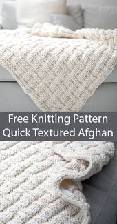 Free Knitting Pattern für Easy Quick Textured Afghan