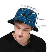 Bucket hat packable reversible deep sea orcas print sun hat fisherman hat cap outdoor camping fishing safari men women black – Products