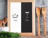 AM PM Schild mit Kaffee und Cocktail Art