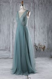 Perlen Rundhalsausschnitt Ärmellos Lang Solide Plissee Tüll Brautjungfer Kleid - JoJoBride #Brautjungfer #Hochzeit #BrautjungferKleid #Homedekor