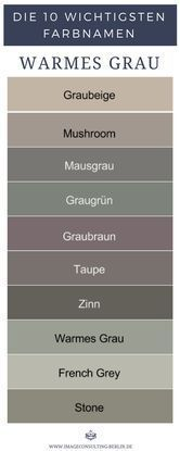 Warme Grautöne sind Graubeige, Mushroom, Mausgrau, Graugrün, Graubraun, Taupe …