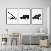 Photo of Crane Truck Print in Black and White for Big Boy Decor, Construction Transportation Wall Art,  Boom Truck
