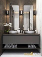 Small bathroom with twin sinks – #bathroom #miroir…