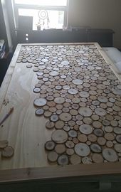 Wooden headboard in progress … # woodslice #woodart #diy # headboard …, #work …