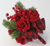 Christmas Red Velvet Silk Flower Brautstrauß Buffalo Plaid Bow 12 Rose   – Products