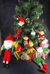 Photo of Vintage Weihnachtsregal Sitter Elfen Pixies 8er-Set