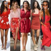 25 celebrity summer inspired outfits in the colors red, yellow, white/black, blu…