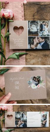 "Thank you card Wedding ""Romance (punched)"""