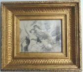 """Zeichnung, """"Paar in Umfassung"""", unter ART FLAGEY Kunsthandel Hauptstadt von Deutschland – #deutschland #flagey #hauptstadt #kunsthandel"""