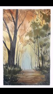 Watercolor: Glowing Autumn Woods