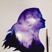 Hallo zusammen :)) neues Bild #doubleexposure #watercolor #painting Print available