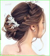 Braided hairstyles - updo with side braid and an elegant pearl hair jewelry, ...