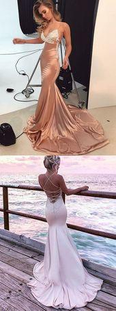 Boho Prom Dresses, Chic Mermaid Prom Dress Cheap Long Lace Prom Dress