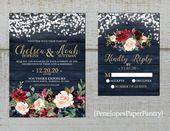 Rustikale Marine Floral Herbst Hochzeitseinladung, Burgunder, erröten, Marineblau, Rosen, Scheunenholz, Golddruck, schimmernde, gedruckte Einladung, Hochzeitsset   – someday ideas