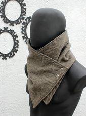 Herren Winter. Herren Kutte Schal. Chunky Schal. Schwarze und braune Fischgrätwolle mit metallischen Schnappschüssen. Chunky, gemütlich. Ehemann, Geschenk für Männer, Frauen, Herbst