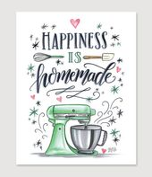 Kitchen Wall Decor – Kitchen Sign – Bakery Sign – Bakery Art – For the Baker – Happiness is Homemade – Kitchenaid