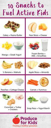 10 Snacks für aktive Kinder   – Produce for Kids Healthy Recipes & Tips