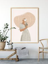 Boho Wall Decor Above Bed Art Terracotta Minimalist Drawing Above Couch Gallery Wall Boho Bedroom Decor