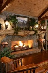 63 Best Log Cabin Homes Fireplace