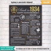85th Birthday Chalkboard Poster Sign, 85 Years Ago Back in 1934 USA Events, Black & White, Instant Download Digital Printable File – 1949